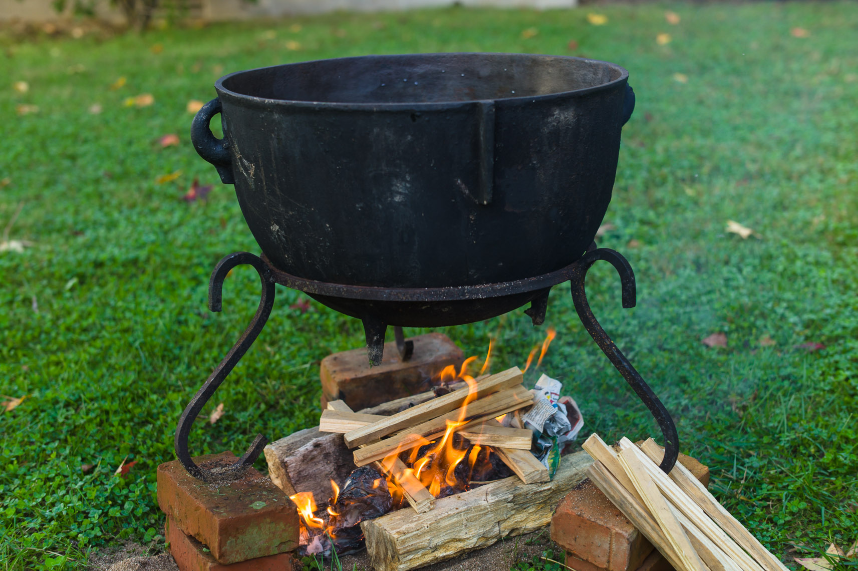 Cast iron chowder pot with fire