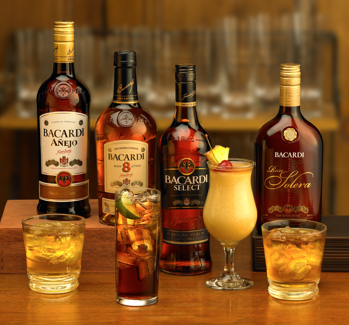 Bacardi dark rums with cocktails