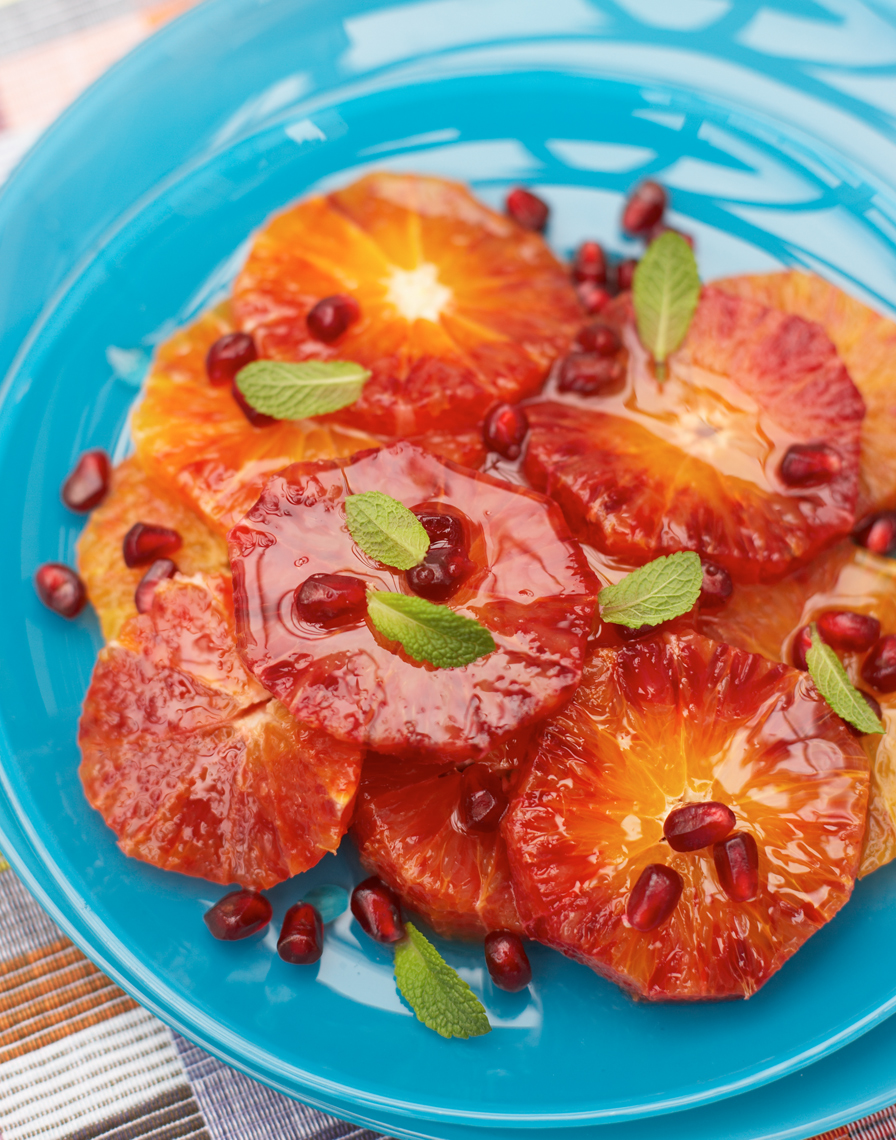 Blood orange salad with mint and pomegranate