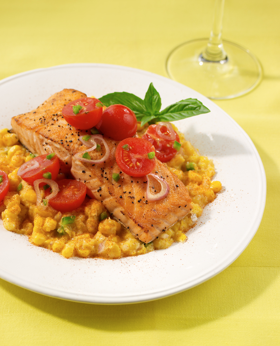 Salmon with corn tomato salad