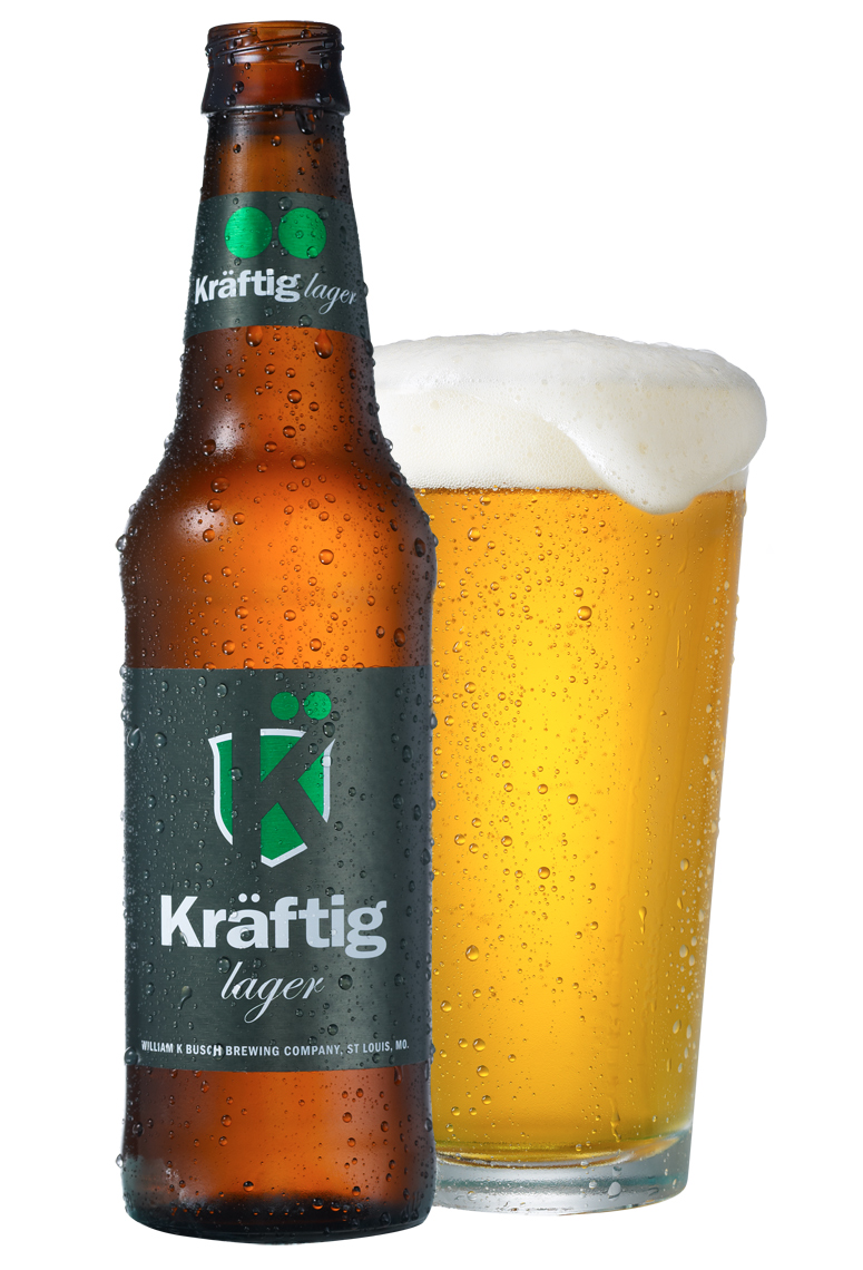 Kraftig Lager bottle with glass of beer