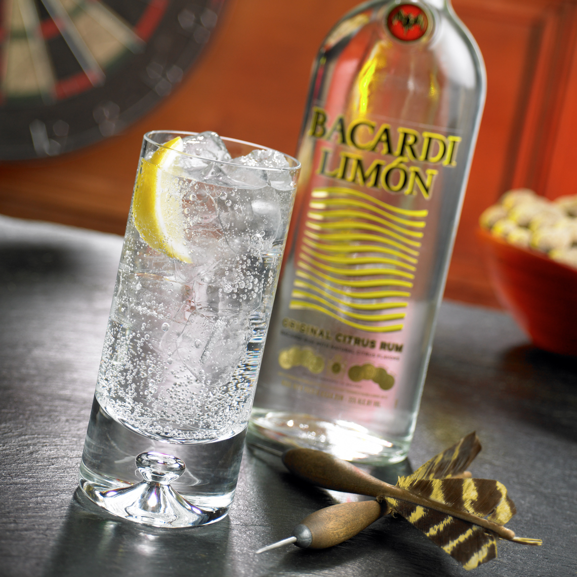 Bacardi Limon bottle and cocktail