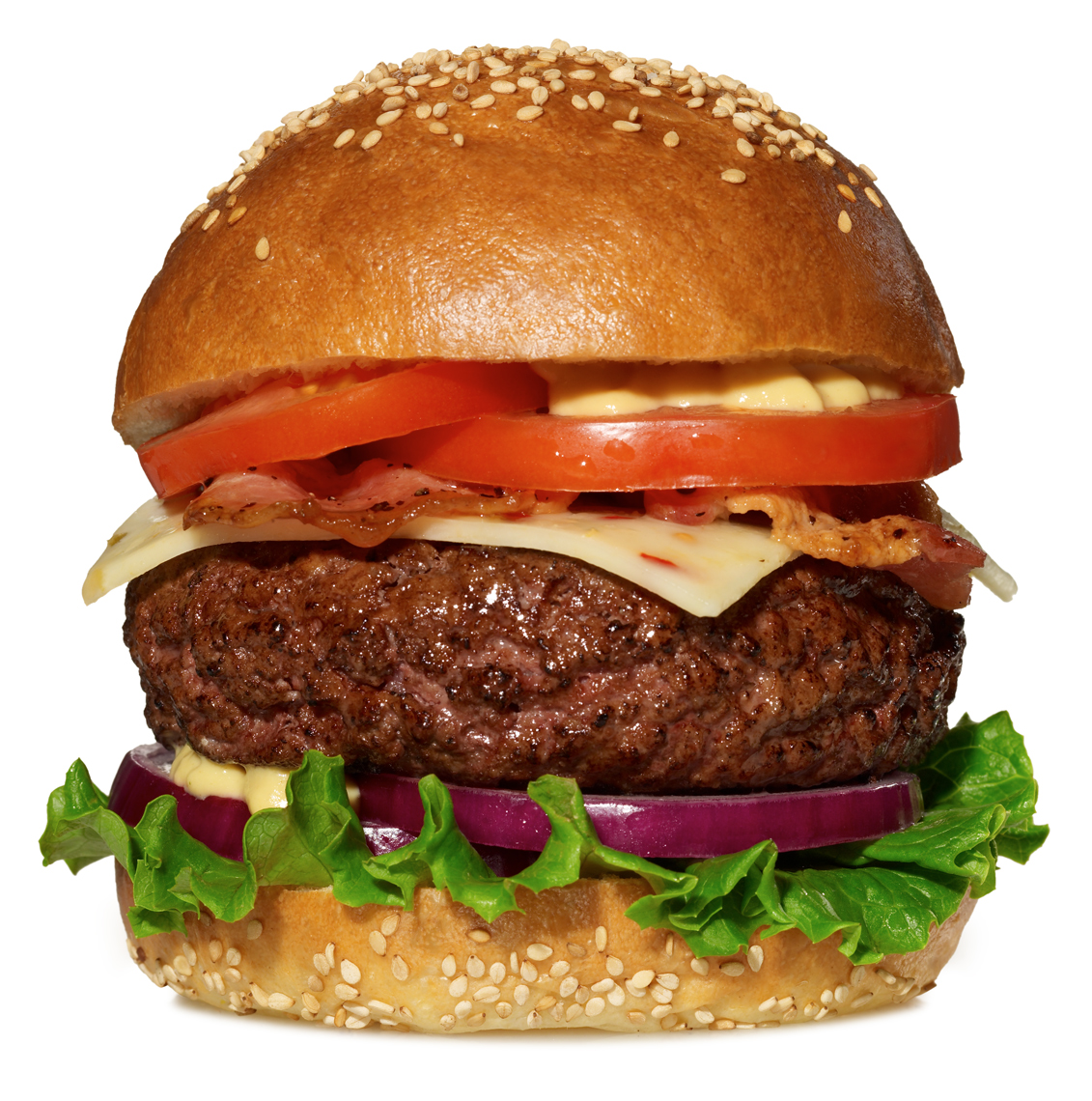 cheeseburger with tomato, lettuce and onion